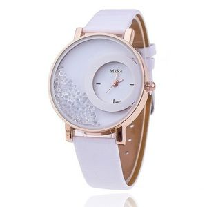 Accessories - Ladies White Leather Fashion Watch w/Crystals NEW!